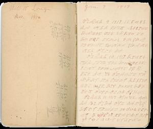 Example of handwritten Cherokee syllabary in notebook