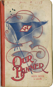 'Our Banner' notebook with triangle flag and decorative swirls on cover